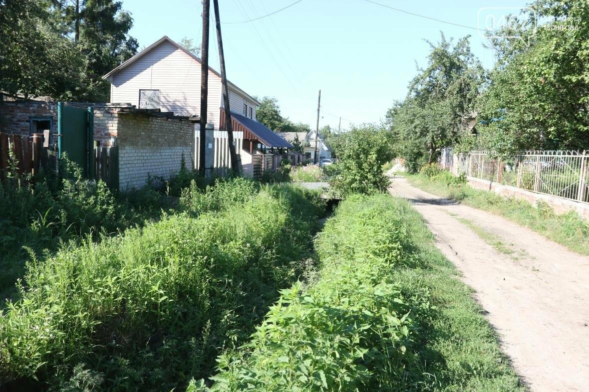 Необустроенная сточная канава зарастает травой