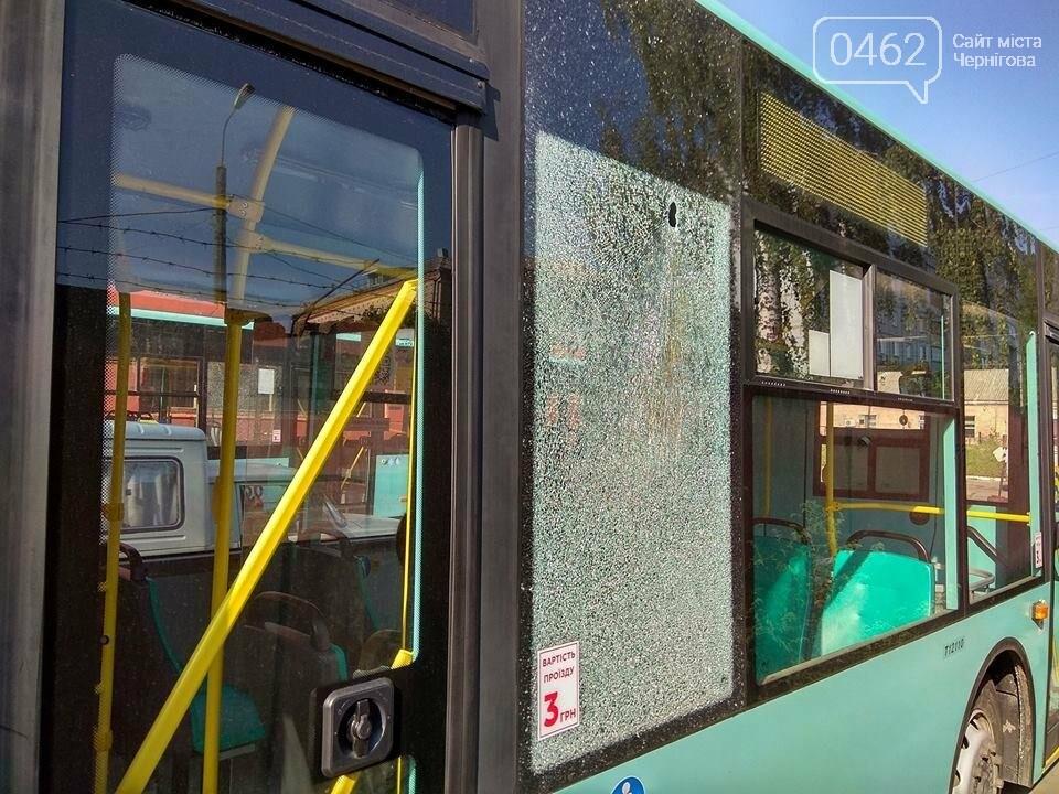 Вандалы разбили в Чернигове новые троллейбусы, фото-1