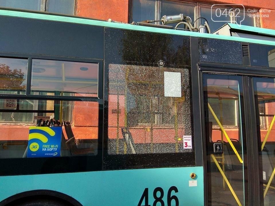 Вандалы разбили в Чернигове новые троллейбусы, фото-5