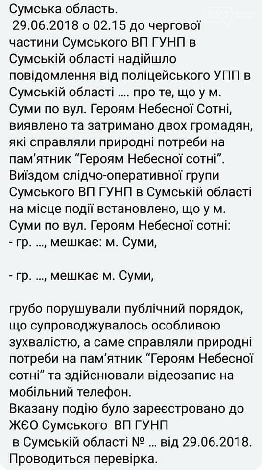 В Сумах задержали двух парней из Черниговской области, которые осквернили памятник Героям Небесной сотни, фото-3