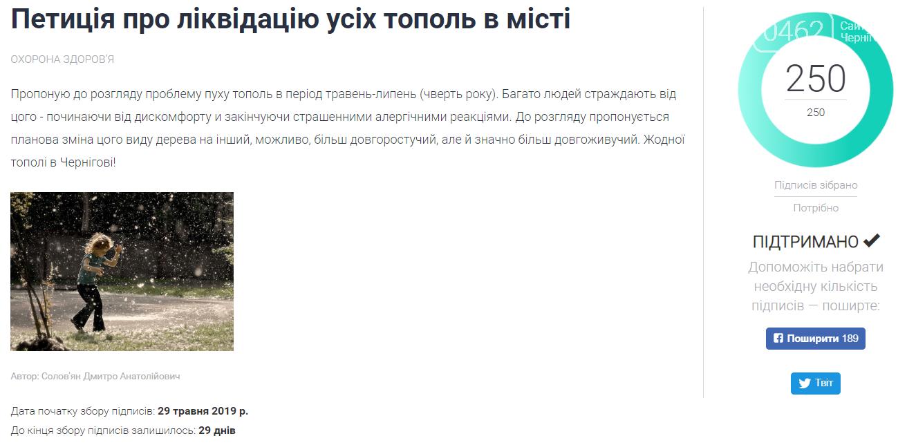 Петиція про ліквідацію дерев тополі у Чернігові набрала необхідну кількість підписів за один день, фото-1