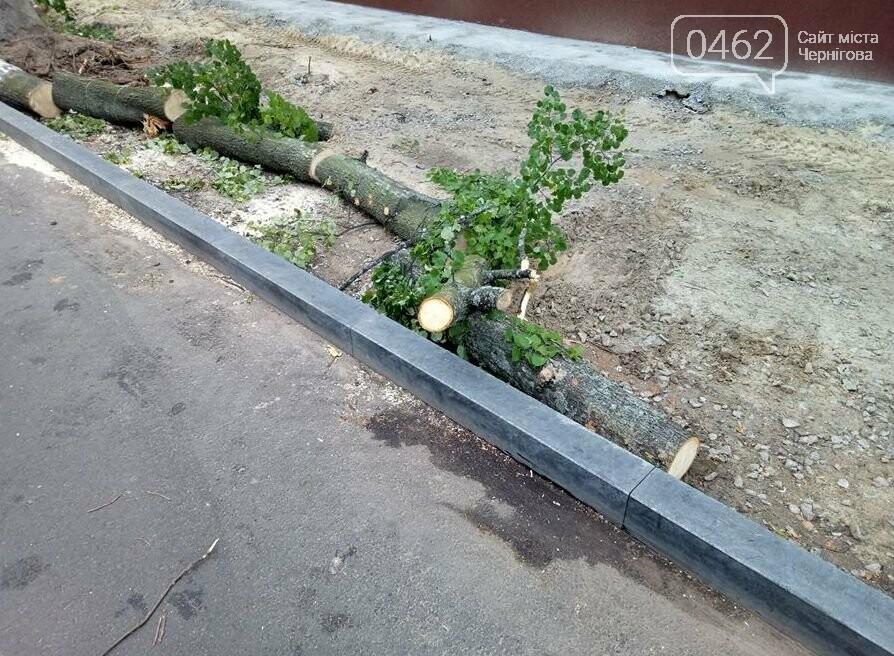На вулиці Гончій у Чернігові спиляли дерева заради оновлення тротуару, фото-1