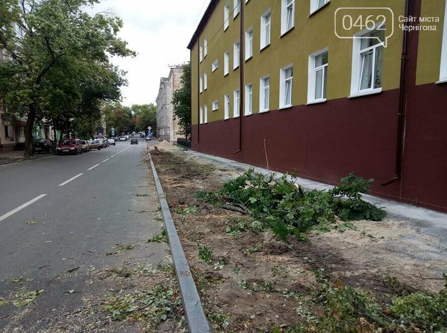 На вулиці Гончій у Чернігові спиляли дерева заради оновлення тротуару, фото-4