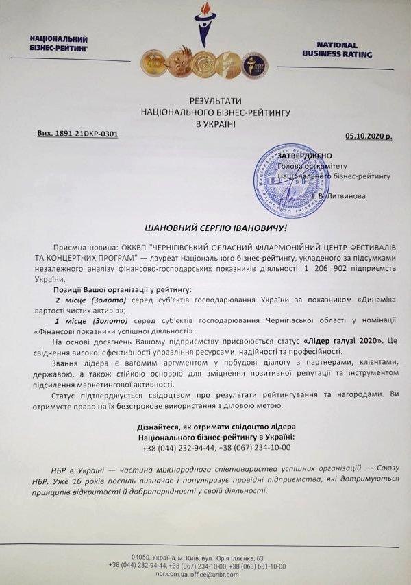 """Чернігівська філармонія стала """"Лідером галузі 2020"""", фото-1"""